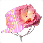 Z: Candy Pink Large Rose Striped Sun Hat