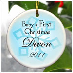 JDS *PERSONALIZED* Ceramic Blue *Baby's First Christmas* Ornament - Style 1