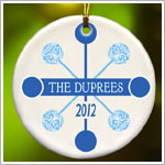 JDS *PERSONALIZED* Ceramic Blue Contemporary Classic Ornament