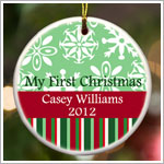 JDS *PERSONALIZED* Ceramic Green Stripes *My First Christmas* Ornament