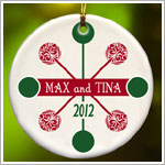 JDS *PERSONALIZED* Ceramic Red & Green Contemporary Classic Ornament