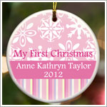 JDS *PERSONALIZED* Ceramic Pink Stripes *My First Christmas* Ornament