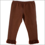 Kaiya Eve Brown Ruffle Hem Leggings w/ Bow