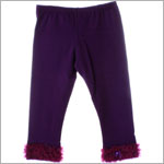 Kaiya Eve Plum Ruffle Hem Leggings w/ Bow