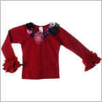 Kaiya Eve Red L/S Floral Couture Top w/ Jewels & Sequins