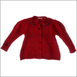 Kate Mack Red Knitted Button Front Sweater w/ Roses and Beads