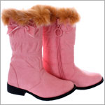 FS: L'Amour Pink Fur Top Boots w/ Bow
