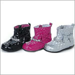 Z: L'Amour *STUNNING SILVER* Patent Princess Boots - Ankle High w/ Rhinestones & Bows