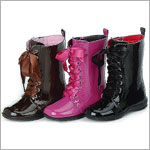 L'Amour FUCHSIA Patent Ribbon Lace Boots w/ Side Zipper *BESTSELLER!*