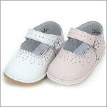 Z: L'Amour PINK Scalloped Classic Baby Mary Jane Shoe w/ Side Flower