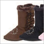 Z: L'Amour BROWN Side Ruffle Peace Sign Boots w/ Side Zipper