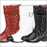 Z: L'Amour PATENT WHITE Buckle Boots
