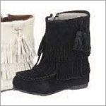 Z: L'Amour BLACK Fringe Ankle Boot with Side Zipper