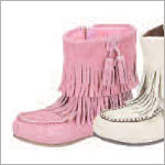 Z: L'Amour PINK Fringe Ankle Boot with Side Zipper