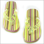 L'Amour Lime Stripe Flip Flops