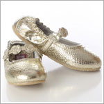 Z: L'Amour GOLD Ballet Style Flat with Tri Flower Strap