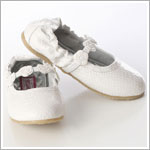 Z: L'Amour WHITE Ballet Style Flat with Tri Flower Strap
