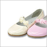 Z: L'Amour PATENT CREAM Mary Jane Shoes w/ Ribbon Flowers
