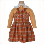: Les Bebes de Floriane Orange Plaid Jumper W/ L/S Shirt