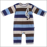 Le Top *Varsity Blues* Blue/Brown Wide Stripe L/S Romper