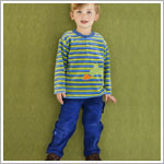 Le Top *Daring Dragons* Blue/Green Striped L/S Shirt & Blue Cord Pant Set
