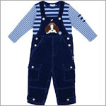 Le Top *My Best Friend* Blue Striped Shirt & Navy Corduroy Overall Set
