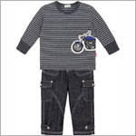 Le Top *Vroom!* Dark Grey Striped L/S Shirt & Stonewashed Denim Pant Set