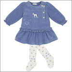 Le Top *Primrose Pony* Prairie Blue Corduroy Dropwaist Dress & Tight Set