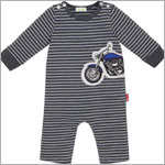 Le Top *Vroom!* Dark Grey Striped L/S Motorcycle Romper