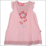 Le Top *Wildflower* Pink/White Woven Stripe Shift Dress w/ 3-D Flower Applique