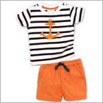 Little Maven S/S Navy/White Stripe Anchor Tee and Orange Swim Short Set