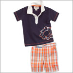 Little Maven S/S Navy Life Preserver Polo Tee & Orange Plaid Short Set