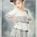 Luna Luna Black/Ivory Stripes & Dots 3/4 Sleeve Dress