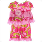 Mack & Co Pink/Lime Poochie Swirl Shirt & Pant Set w/ Daisy