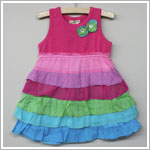 Mimi & Maggie Pink/Rainbow Layer Flutters Dress