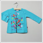 x: Me Too Turquoise L/S Birds in Tree Shirt w/ Jewels