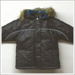 X: Me Too Dark Grey Coat w/ Teal Lining & Removable Faux Fur Hood