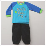 x: Me Too Boys Blue/Teal *Don't Bug Me* L/S Top & Charcoal Fine Cord Pant Set