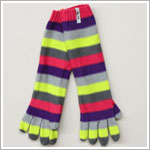 Me Too *Melton* Grey/Lime Multi Striped Long Gloves