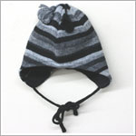 Me Too *Melton* Grey/Black Striped Wool Trapper Hat w/ Tassles