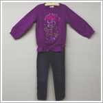 X: Me Too Plum L/S Jeweled Top & Skinny Jean Set