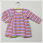 x: Me Too Purple/Multi Striped L/S Gathered Square Neck Dress