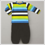 X: Me Too Black/Multi Striped L/S Shirt & Black Cord Pant Set