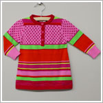 x: Me Too Pink/Red/Orange Multi Stripes & Dots Sweater Dress