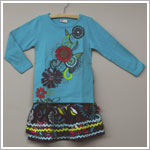 X: Me Too Turquoise Floral L/S Shirt & Amethyst Floral Cord Skirt Set