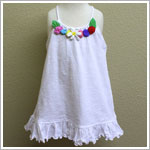 Mulberribush White Ruffle Cover Up with Multi Colored Flowers