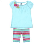 Mulberribush Aqua Peasant Top w/ Multi Color Roses & Stripe Capri Legging Set