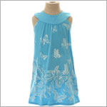 Mulberribush Sky Blue Yoke Collar Butterfly Dress