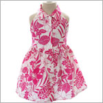 Mulberribush White/Fuchsia Floral Print Halter Dress w/ Collar and Front Buttons