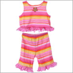 Mulberribush Pink/Orange Stripe Ruffle Tank & Capri Set w/ Flower